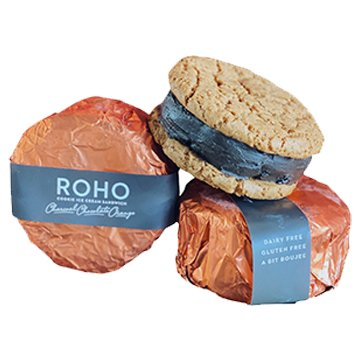 Roho Vegan Cookie Ice Cream Sandwich Charcoal Chocolate Orange 175g x 12
