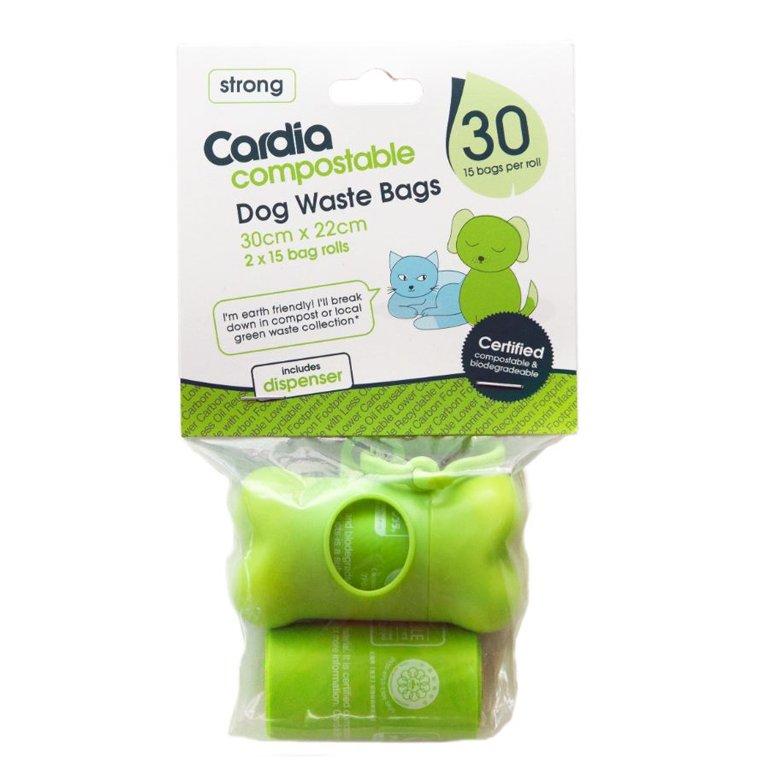 Cardia Dog Waste Bags - 2 Rolls + Dispenser 100% compostable