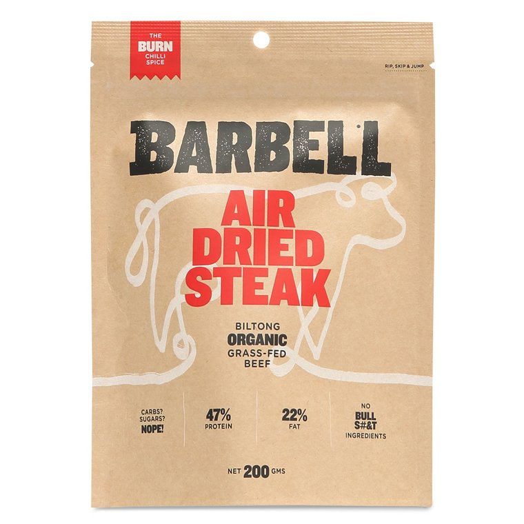 Barbell Foods Organic Grass Fed Beef Air Dried Steak The Burn Chilli Spice 200g