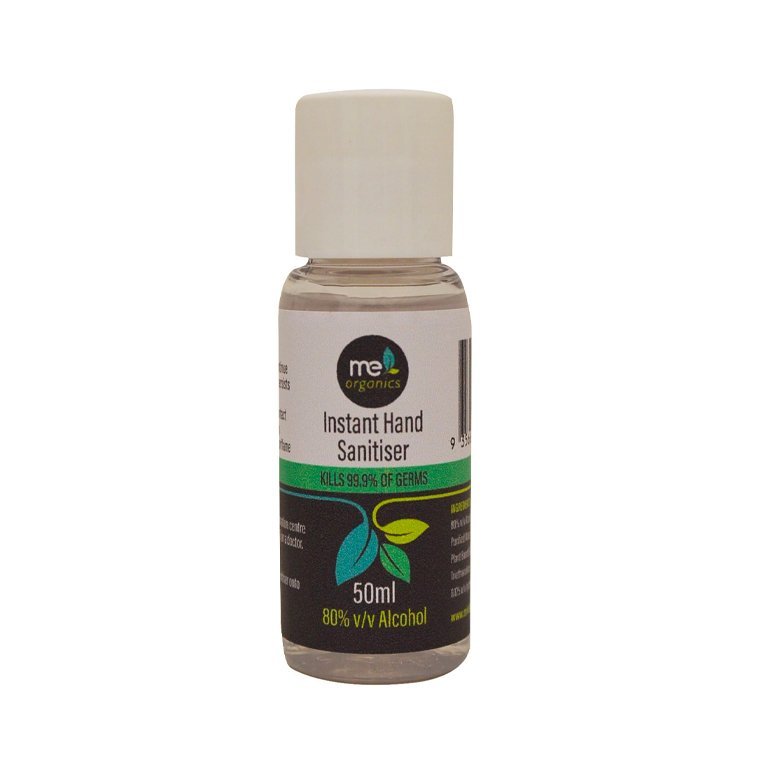 Me Organics Hand Sanitiser 80% alcohol GEL 50ml