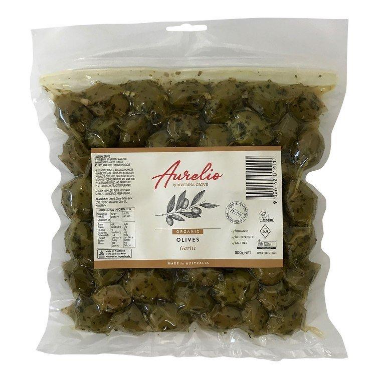 Aurelio Organic Olives GARLIC (Vacuum  Packed) 300g