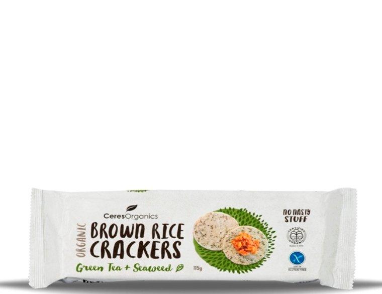 Ceres Organic Brown Rice Crackers Seaweed 115g x 12