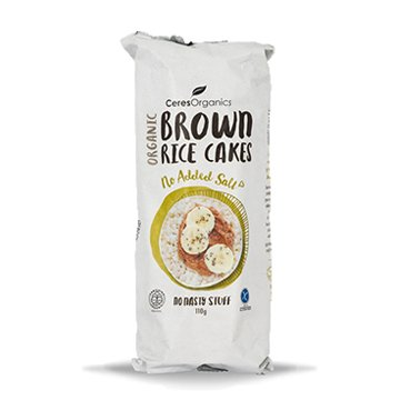 Ceres Organic Brown Rice Cakes No Added Salt 110g  x 12
