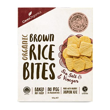 Ceres Organic Rice Bites Sea Salt & Vinegar 100g