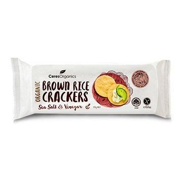 Ceres Organic Brown Rice Crackers SEA SALT & VIN 115g x 12