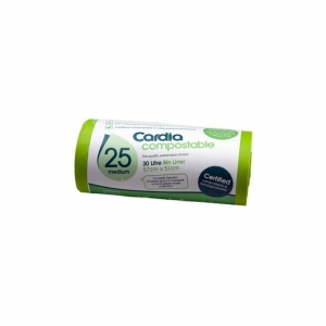 Cardia 30Ltr Garbage Bin Liners 100% compostable -25 bags