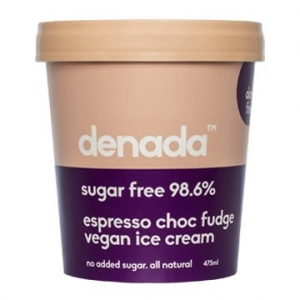 Denada Sugar Free Vegan Ice Cream Espresso Choc Fudge 475ml x 6