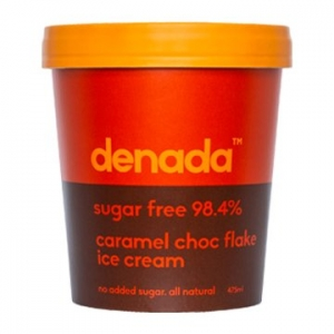 Denada Sugar Free Ice Cream  CARAMEL CHOC FLAKE 475ml x 6