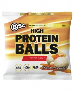 Body Science High Protein Balls White Choc Honeycomb 70g x 10