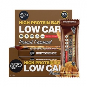 Body Science High Protein Low Carb Bar PEANUT CARAMEL 60g x 12