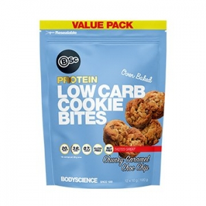 Body Science Low Carb Cookie Bites Chunky Caramel Choc Chip 120g