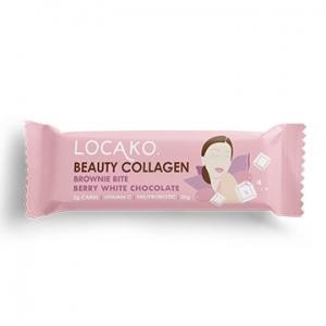 Locako Beauty Collagen Brownie Bite Bar Berry White Chocolate 30g x 15