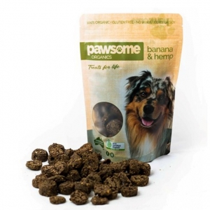 Pawsome Organics Dog Treats BANANA & HEMP 250g