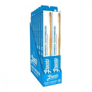 Grants Adult Bamboo Toothbrush MEDIUM x 12