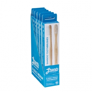 Grants Adult Bamboo Toothbrush MEDIUM 2pk x 6