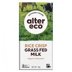 Alter Eco Organic Chocolate Grass Fed Rice Crunch (46%) 75g x 12