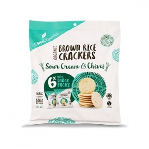 Ceres Organic Brown Rice Crackers Multi Pack S.CREAM + CHIVES 20g X6