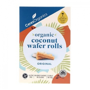 Ceres Organic Organic Coconut Wafer Rolls Original 80g