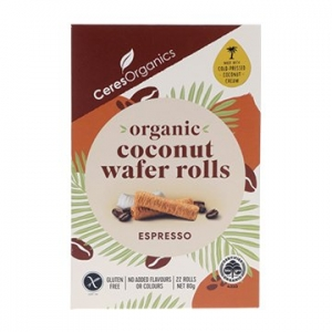 Ceres Organic Coconut Wafer Rolls Espresso 80g