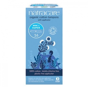 Natracare Organic Cotton Tampons with Applicator Super 16pk