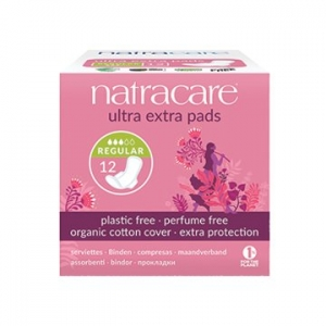 Natracare Organic Cotton Ultra Extra Pads with Wings Regular 12pk
