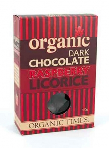 Organic Times Organic DARK Chocolate Raspberry Licorice 150g