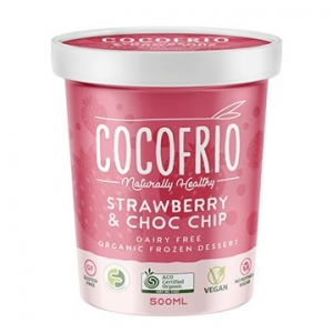 Cocofrio Organic Icecream STRAWBERRY CHOC CHIP 500ml x 6