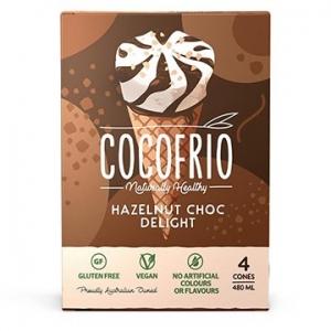 Cocofrio Icecream Cones Hazelnut Choc Delight 4pack x 6